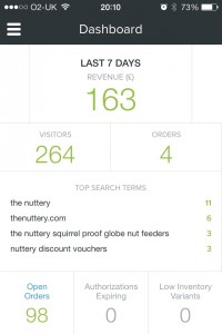 Shopify mobile dashboard